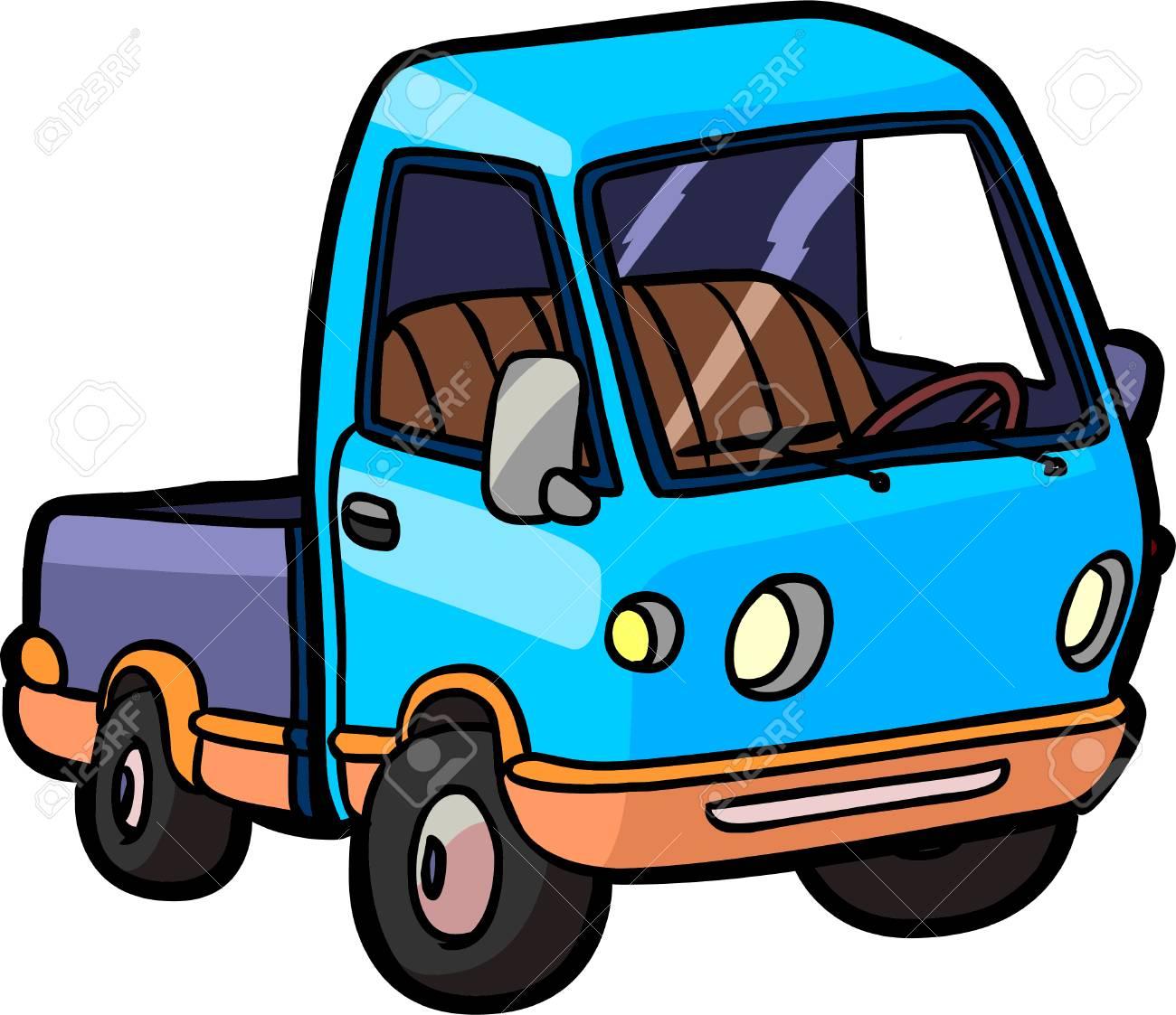 Petit Camion Bleu Sur Fond Blanc Illustration De Style Dessin Animé