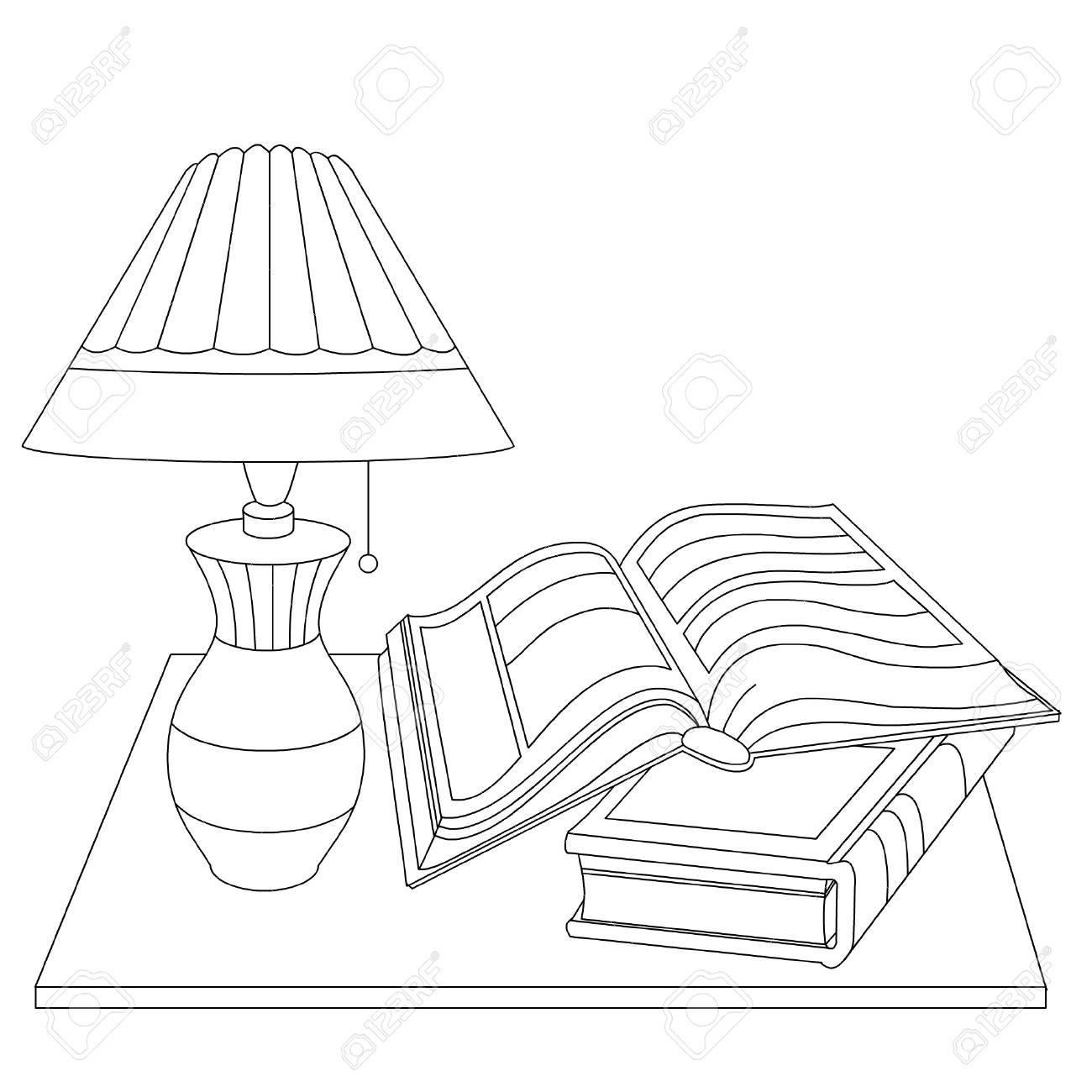 A simple lamp and two books on the table