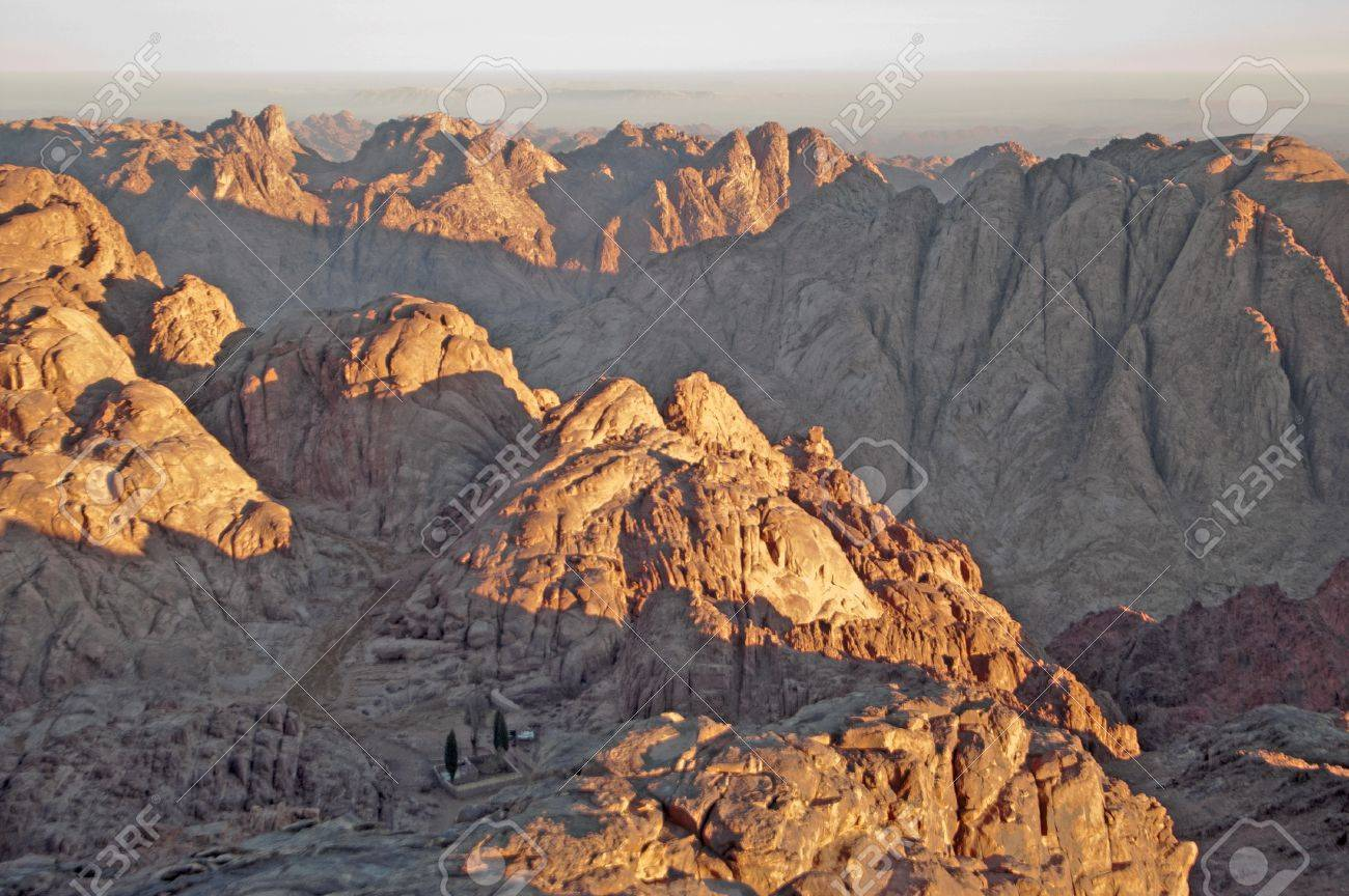 Panorama rocks of holy ground Mount Sinai in the morning Stock Photo - 12609546