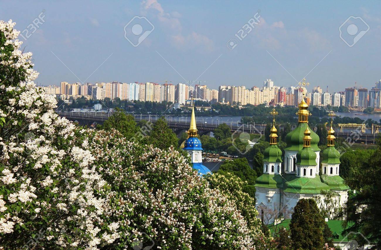 View of Vidubichi monastery and the city in May, Kiev, Ukraine Stock Photo - 13777121