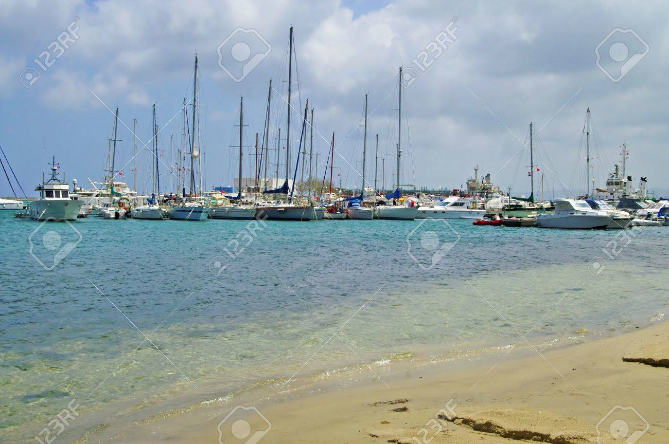 Sea coast and boats in Bizerte, Tunisia Stock Photo - 16195275