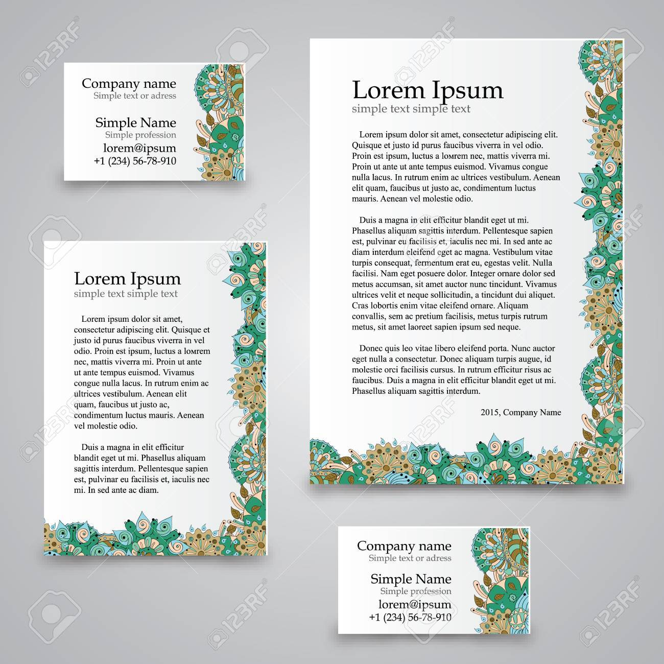 Handmade Business Tracery Card, Set Composed Of Two Business ...