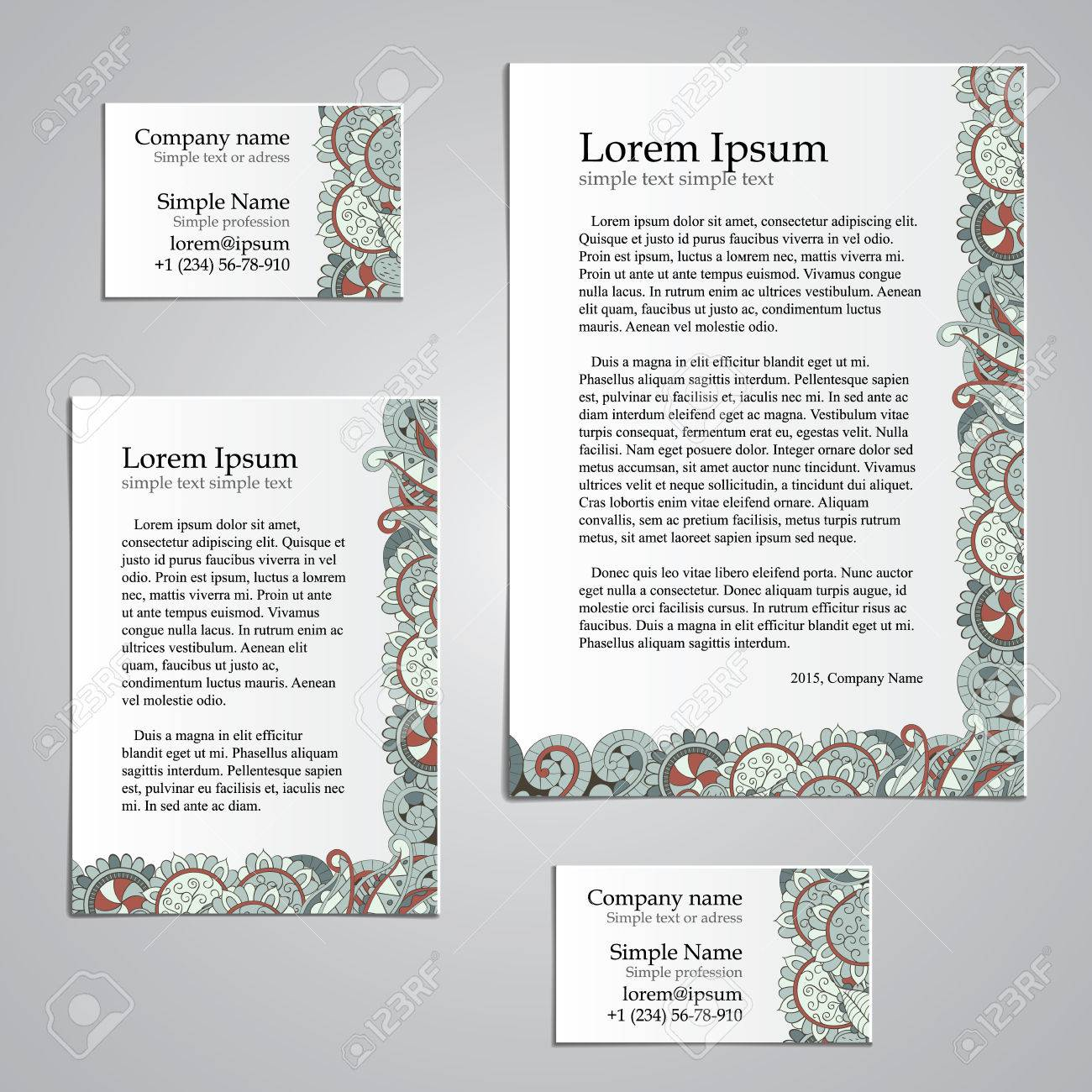 Handmade Business Tracery Card Design, Set Composed Of Two Business ...