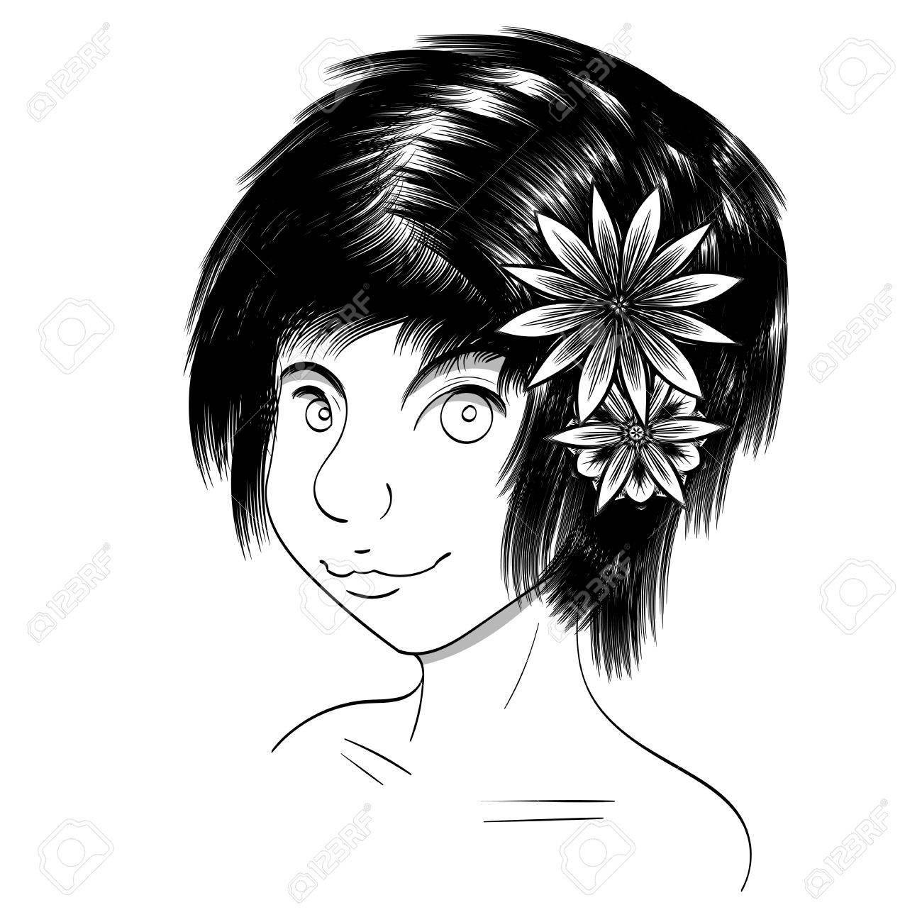 Dessin Noir Et Blanc Dune Jeune Fille Mignonne Vecteur Réaliste De Cheveux Noirs Les Fleurs De Lotus Dans Ses Cheveux Isolé Fait à La Main