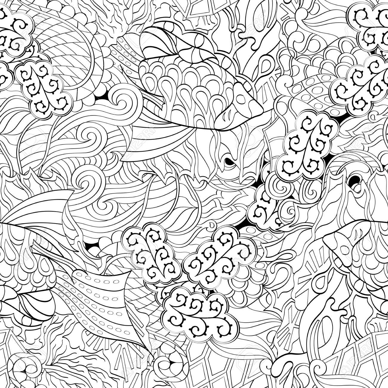 Tracery Binäres Monochromes Muster. Mehendi-Teppich-Design. Neat ...
