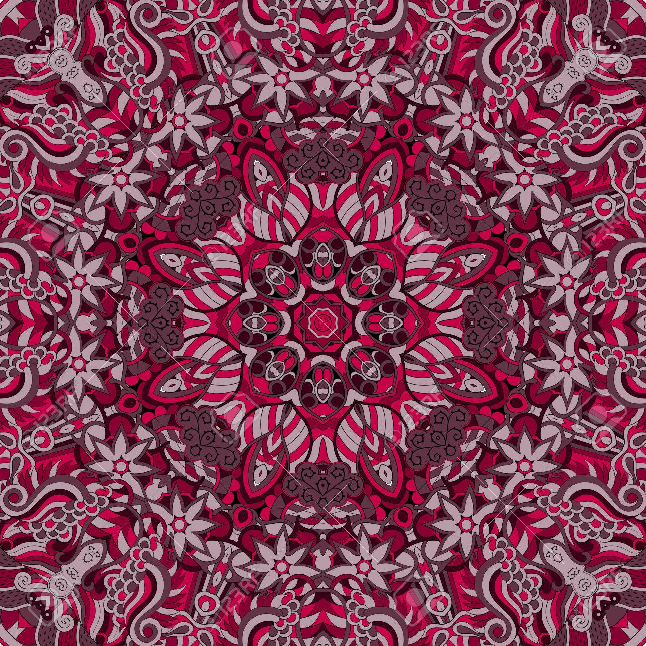 Teppich design textur  Tracery Buntes Rotes Muster. Mehendi-Teppich-Design. Gepflegte ...