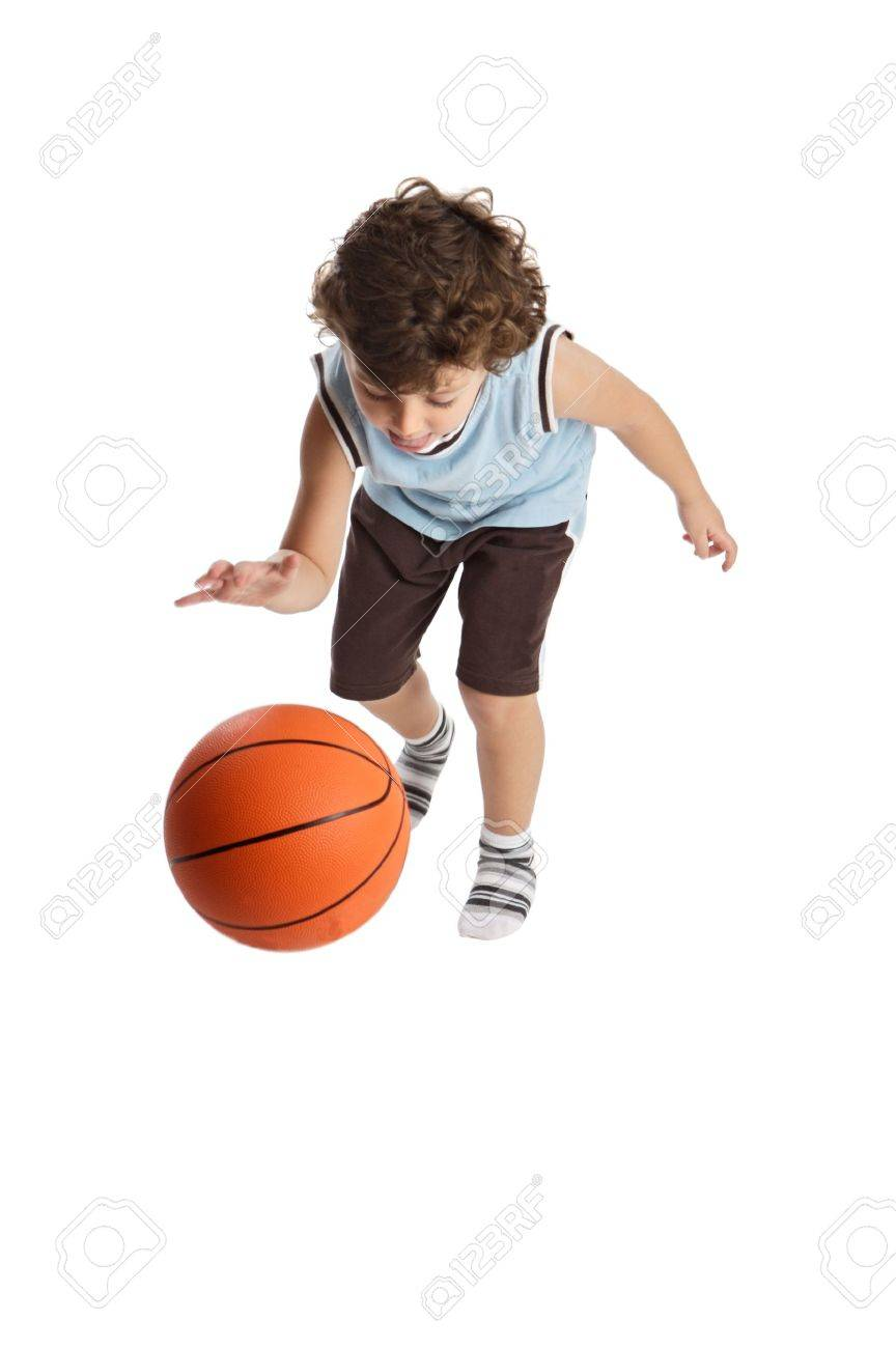 boy playing the basketball with the white bottom Stock Photo - 603001
