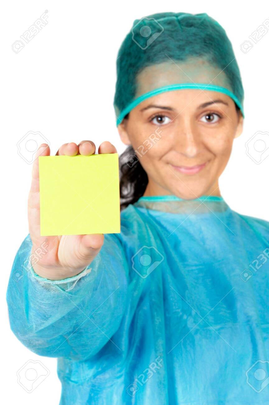 happy doctor with post-in in the hand writing a text center focus in post-it Stock Photo - 650920
