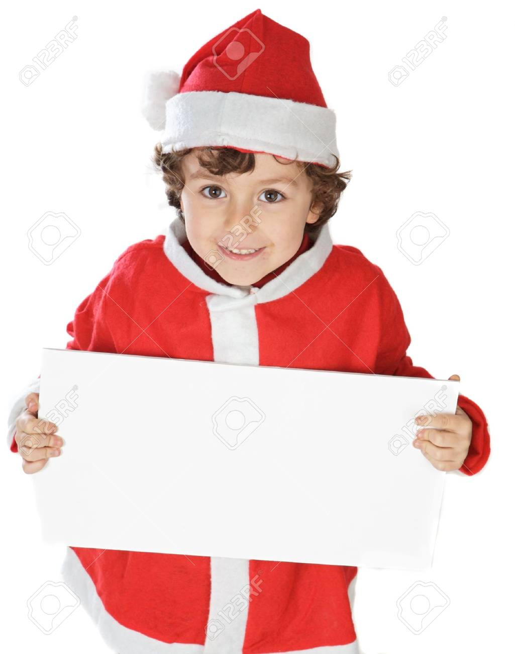 Photo of an adorable boy in christmas with a billboard Stock Photo - 675598