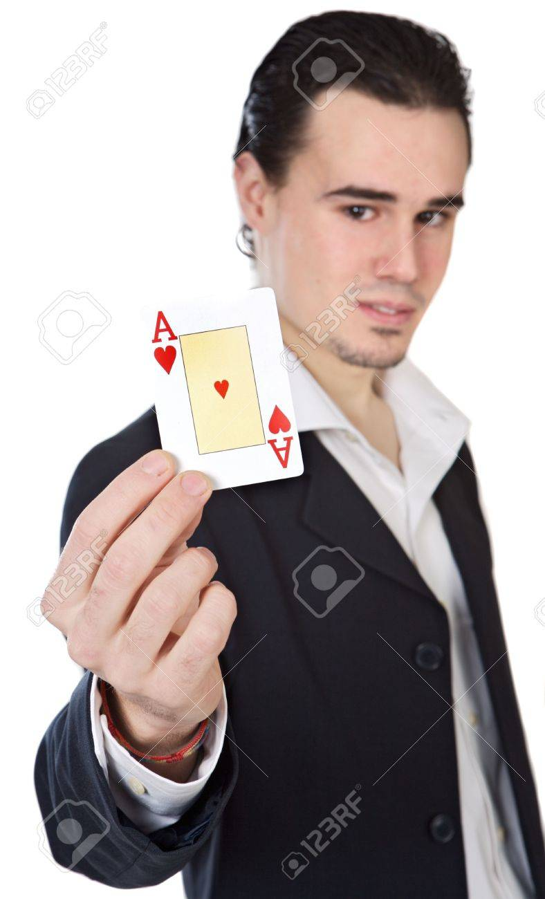 attractive enamored young person a over white background (focus on the card) Stock Photo - 709002