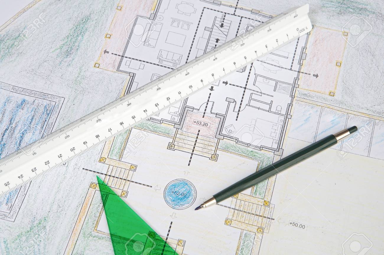 a photo of blue prints home Plans Stock Photo - 703005