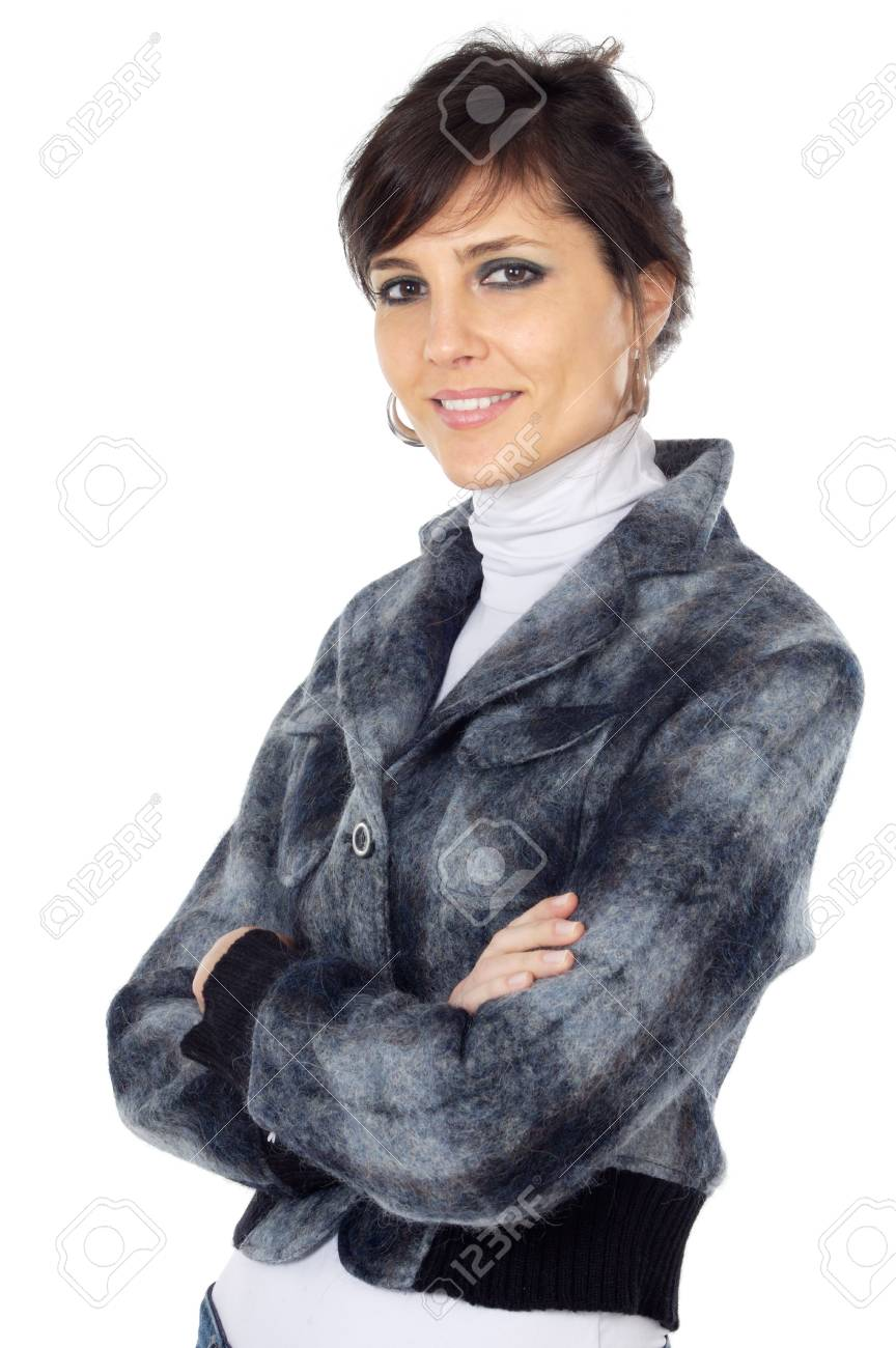 attractive and elegant business woman over a white background Stock Photo - 750881