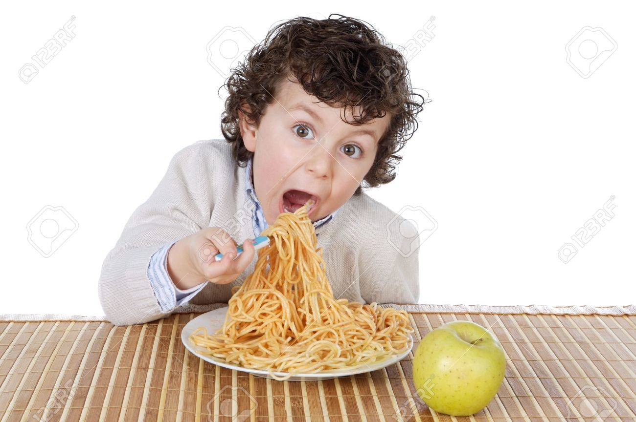 Adorable child hungry at the time of eating a over white background Stock Photo - 756608