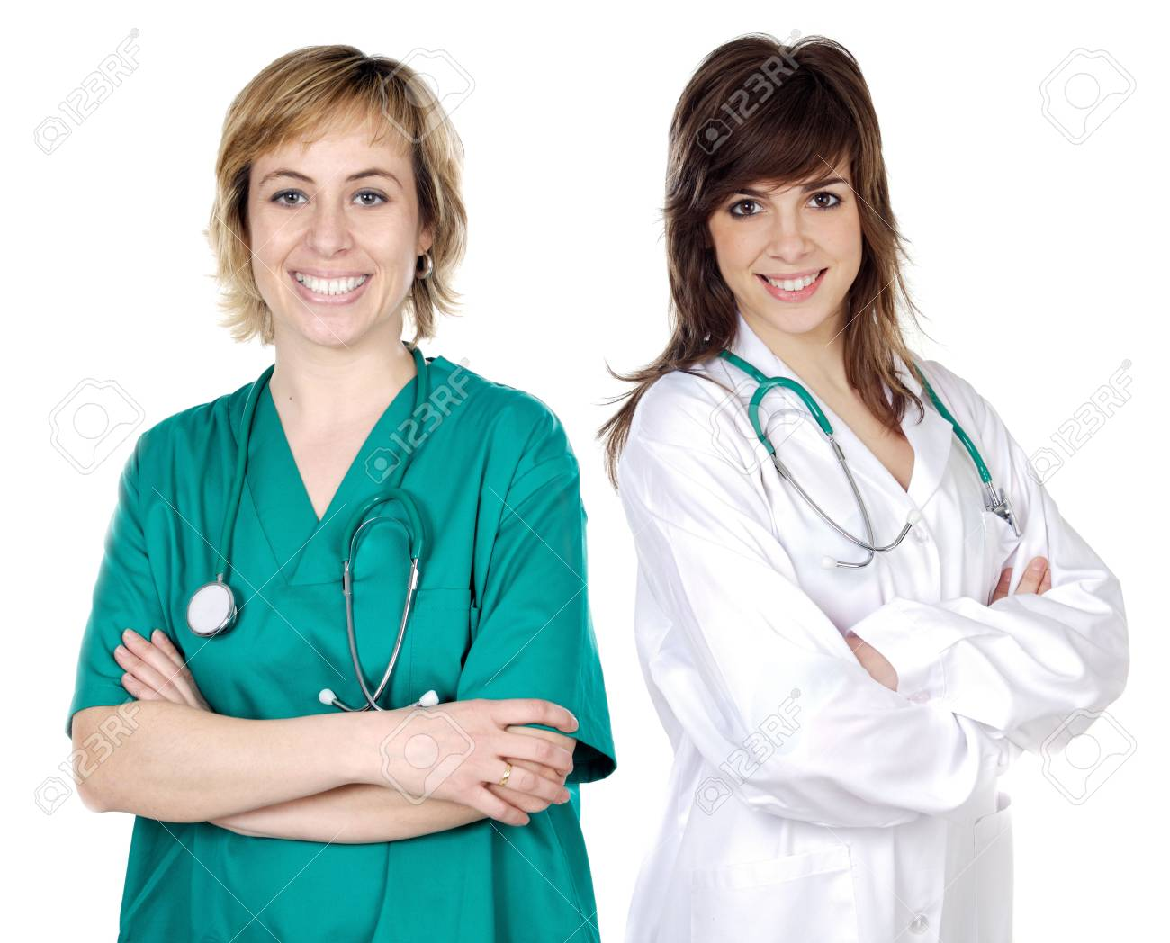 Two doctor women over a white background Stock Photo - 1171307