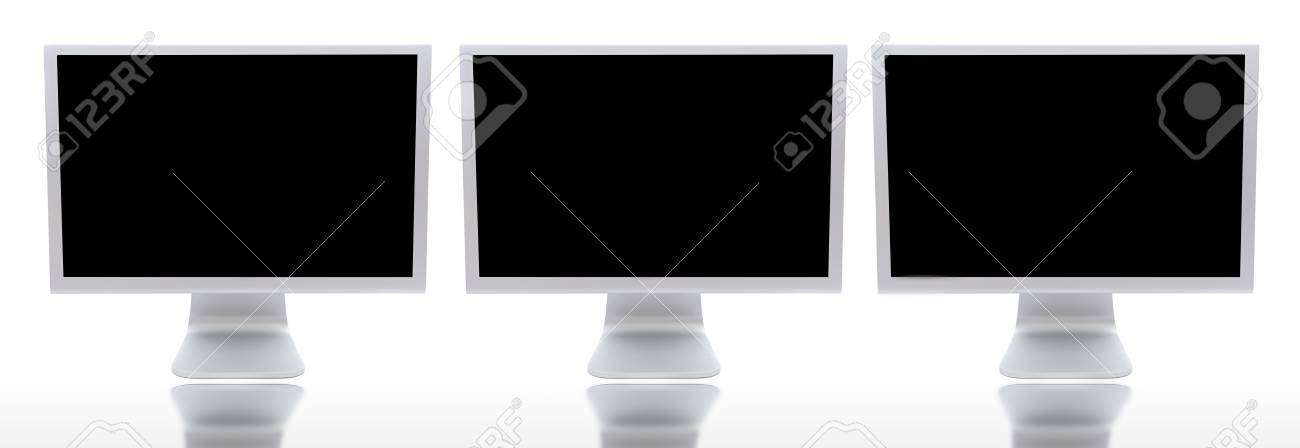 Three Monitors Of Computers A Over White Background Stock Photo