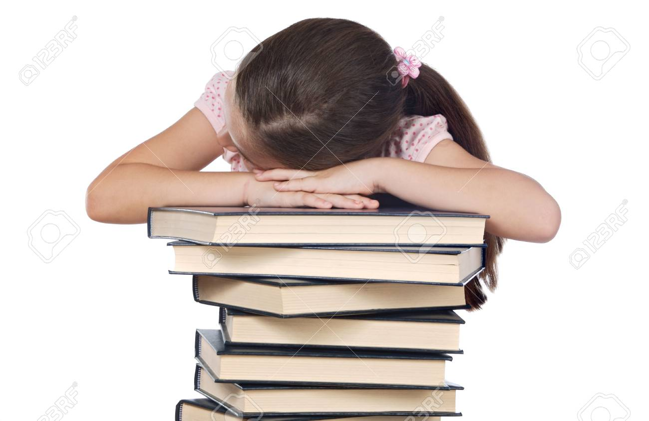 girl asleep on books over white background Stock Photo - 2005206