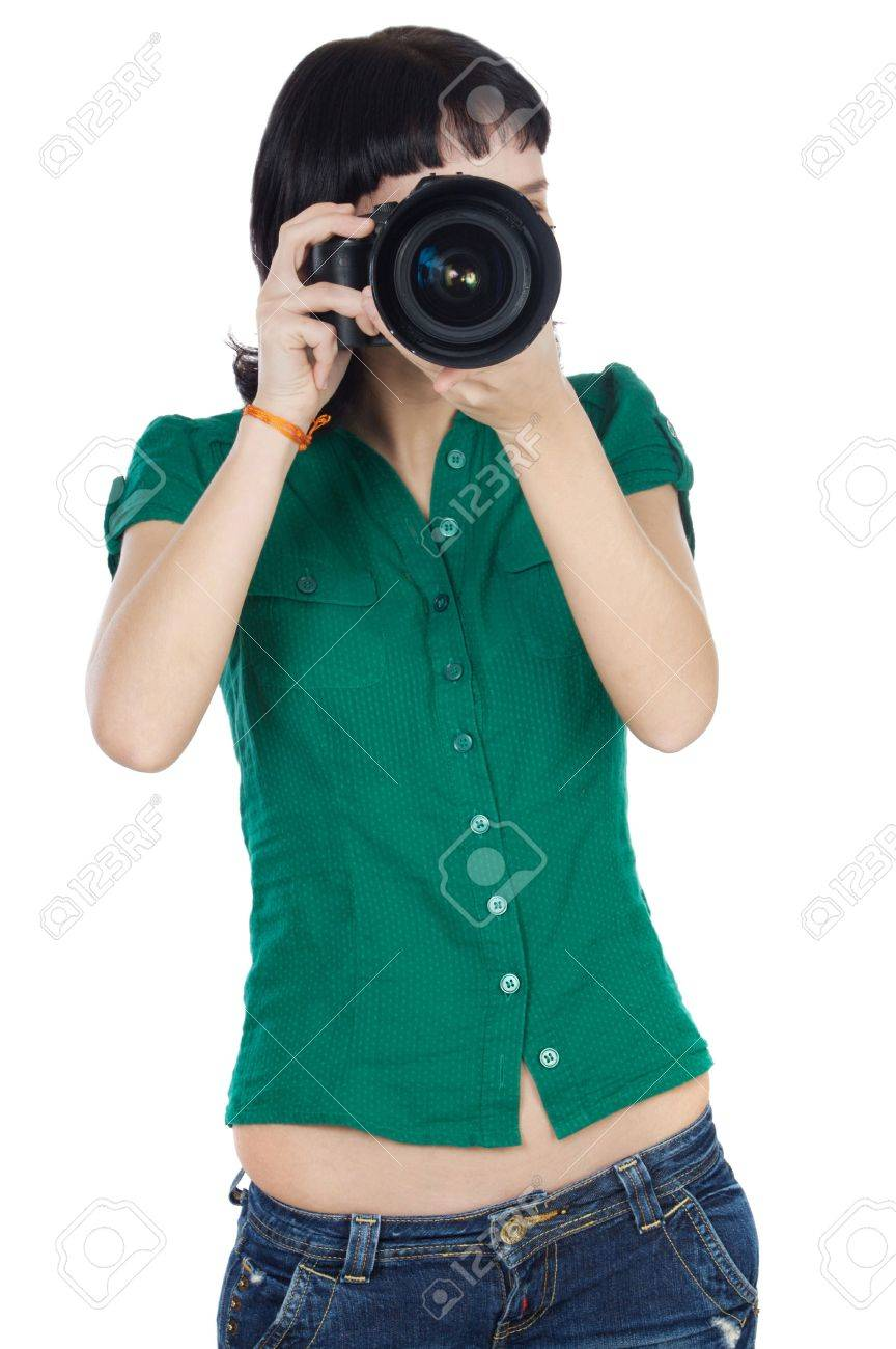 Pretty girl taking a photograph with camera Stock Photo - 2214449