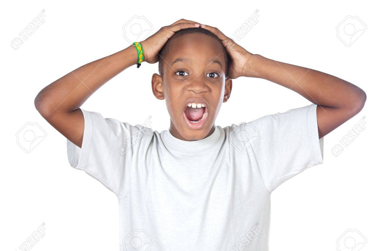 boy shouting madly with his hands over his head Stock Photo - 2369520
