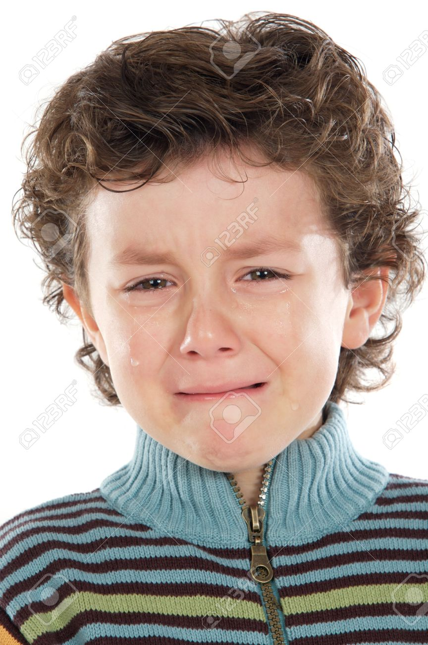 Adorable child crying a over white background Stock Photo - 2421828