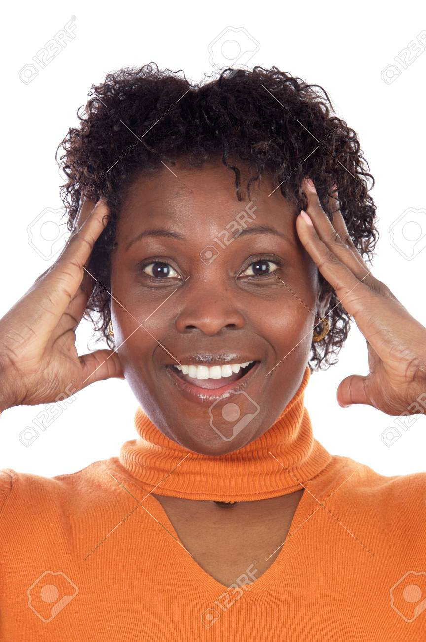 Attractive African American woman with an expression of surprise Stock Photo - 2646264