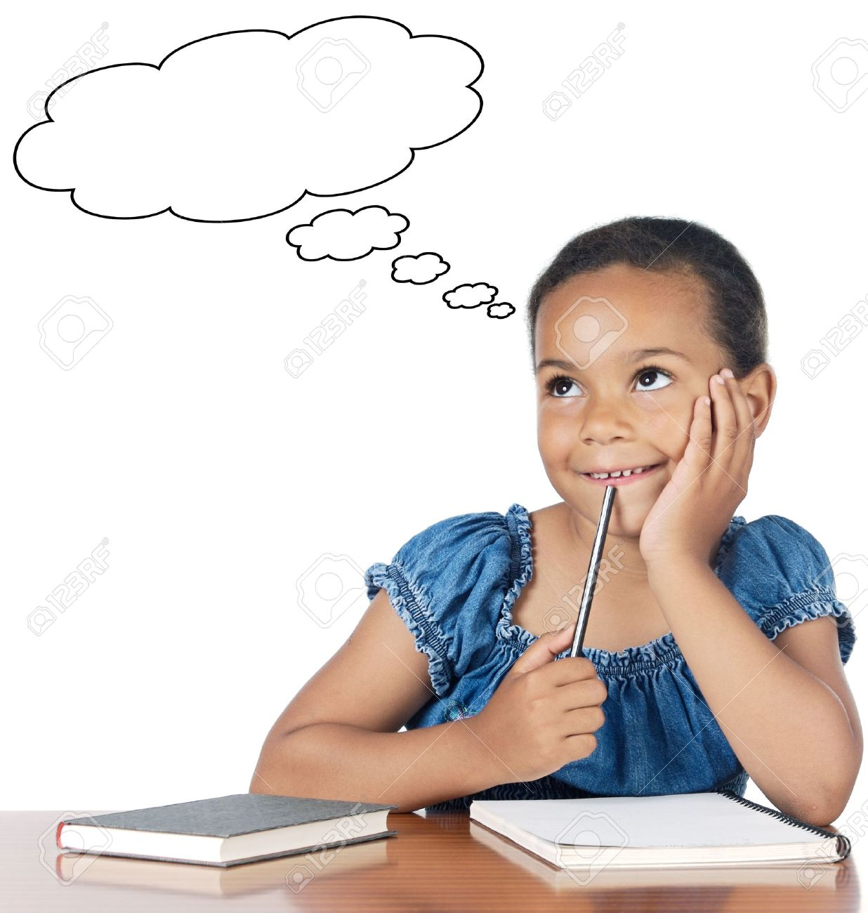 adorable girl thinking a over white background stock photo picture