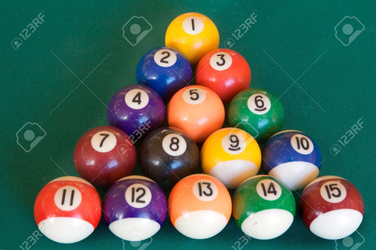 Billiard Table With Fifteen Balls Arranged As Triangle Stock Photo   3455358
