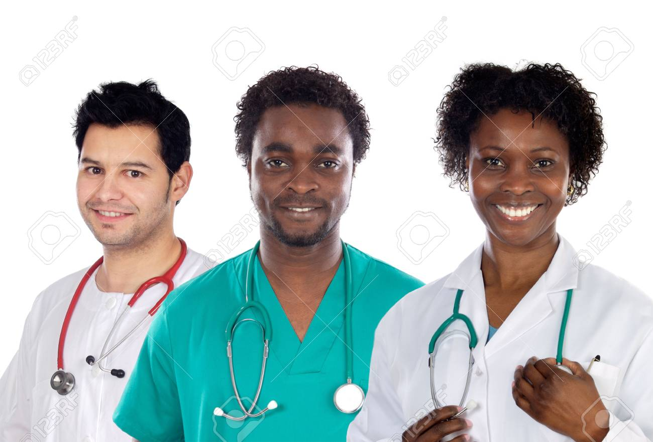 Team of young doctors a over white background Stock Photo - 3481940