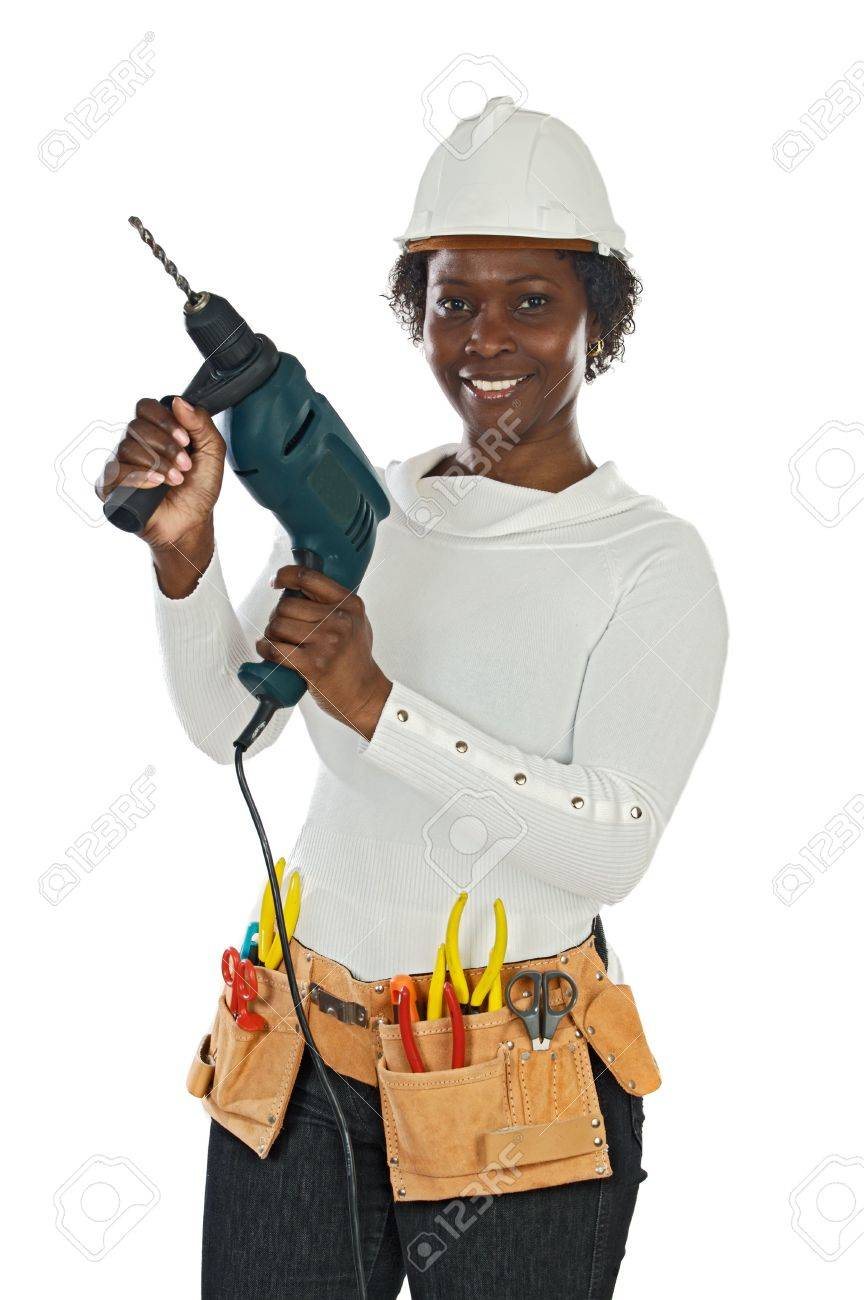 African american woman with helmet and tools a over white background Stock Photo - 3709267
