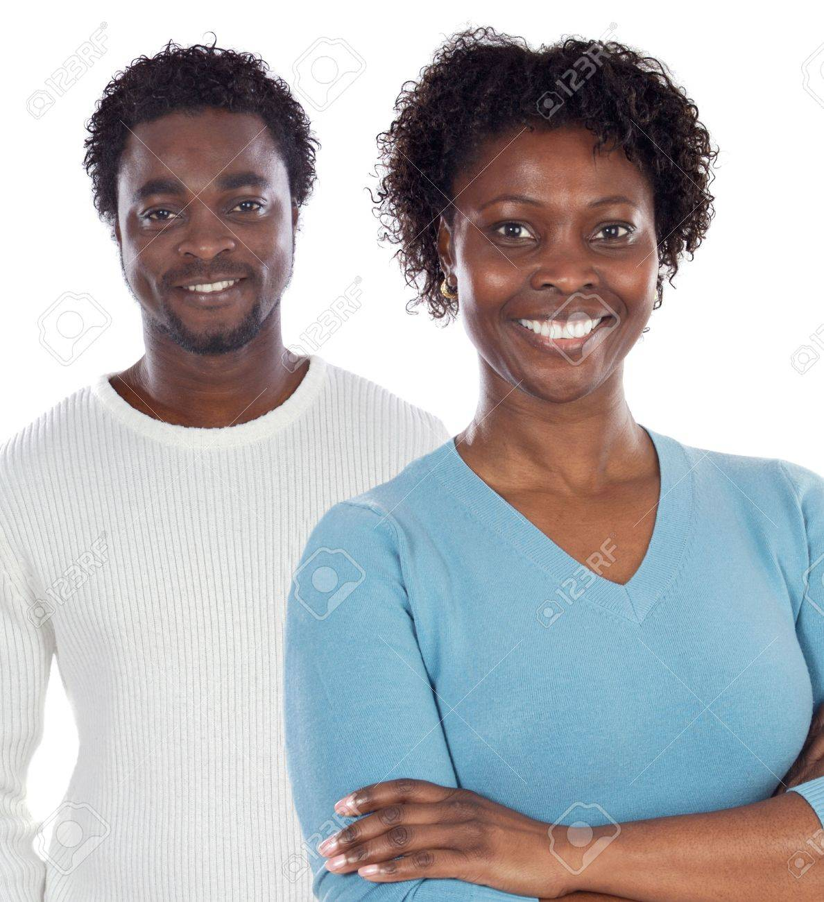 African american couple  a over white background Stock Photo - 3887815
