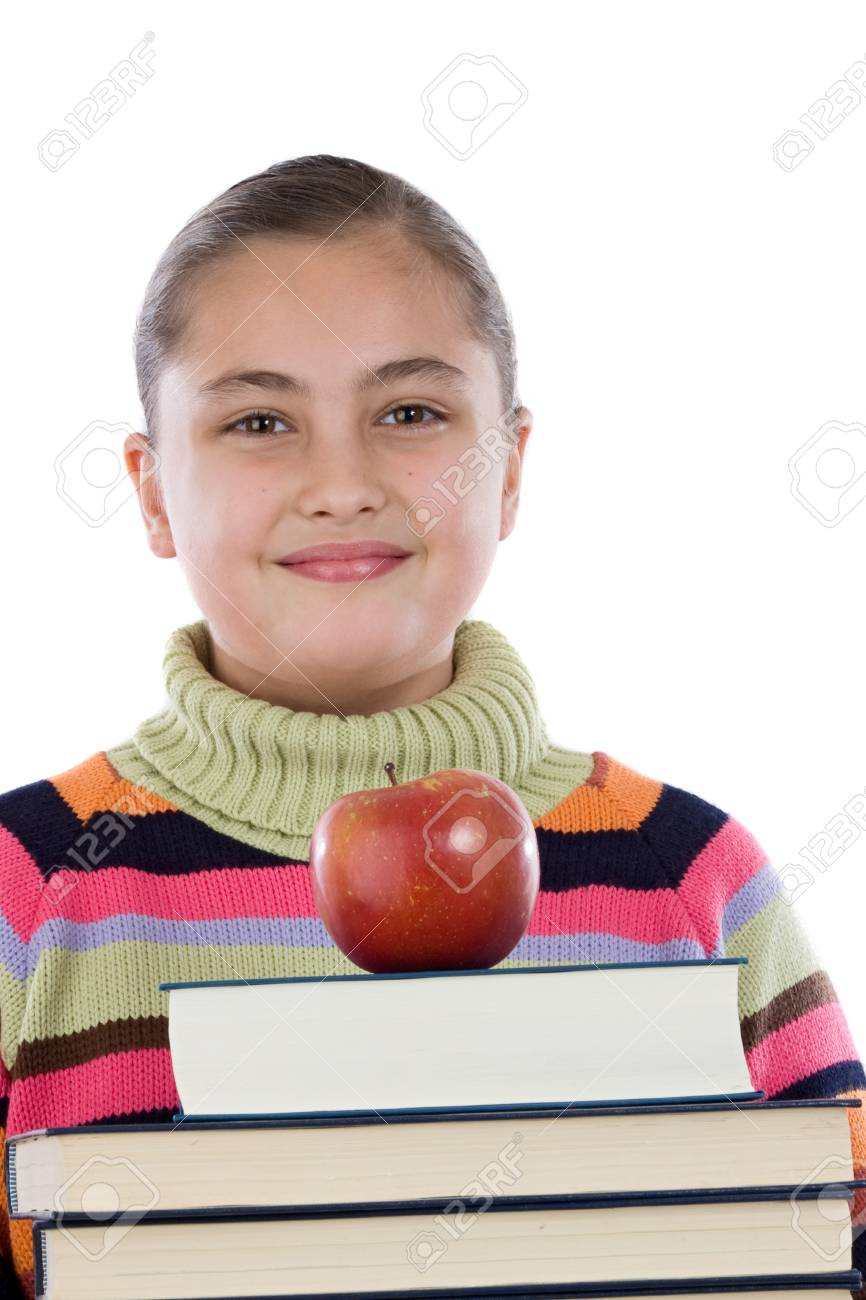 Adorable girl with many books and a apple on a over white background Stock Photo - 4402790