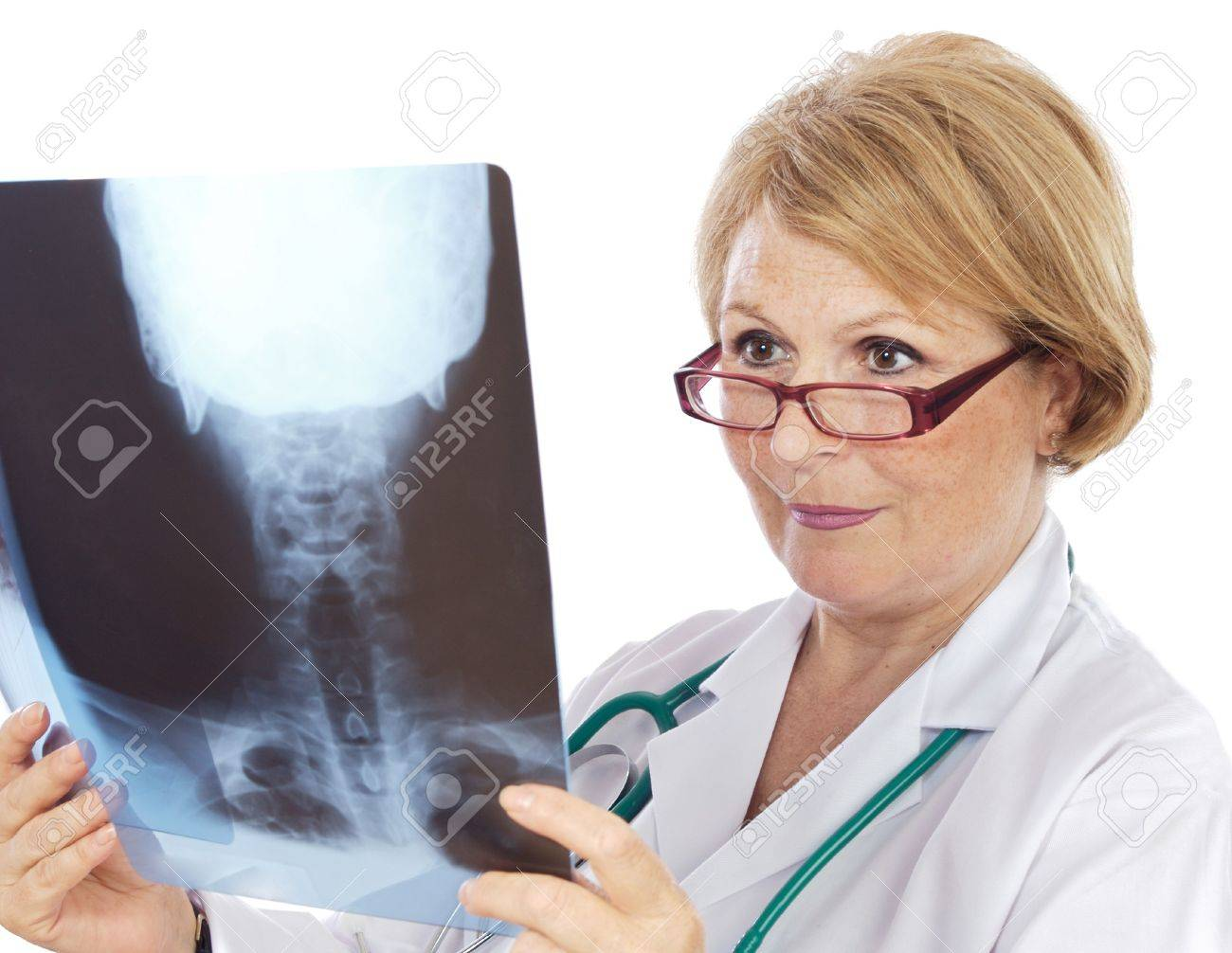 Female doctor radiologist a over white background Stock Photo - 4445230
