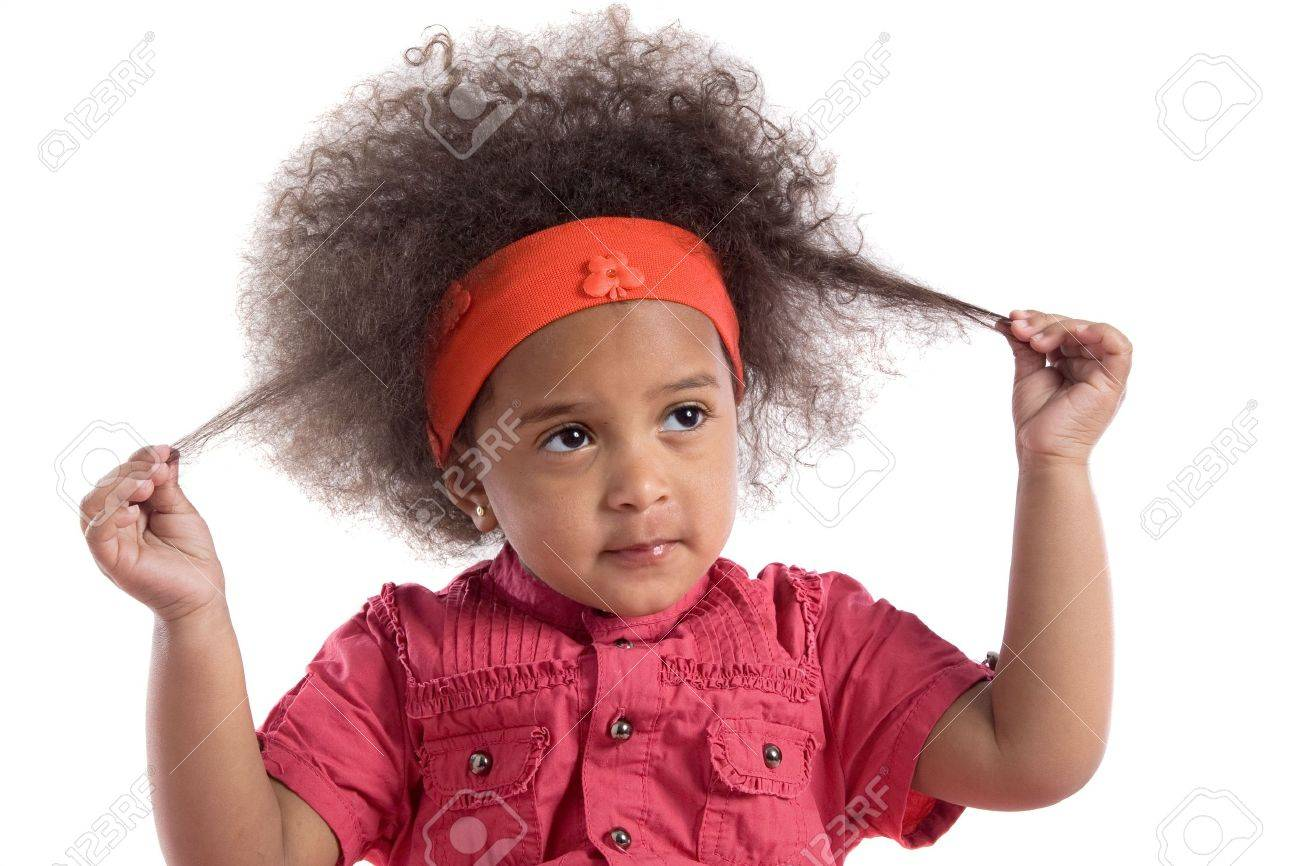 Adorable African Baby With Afro Hairstyle Isolated Over White Stock