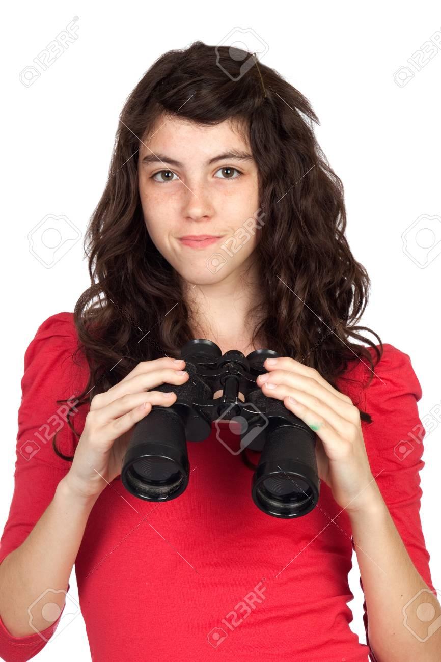 Adorable teen girl with binoculars isolated on white background Stock Photo - 7096571