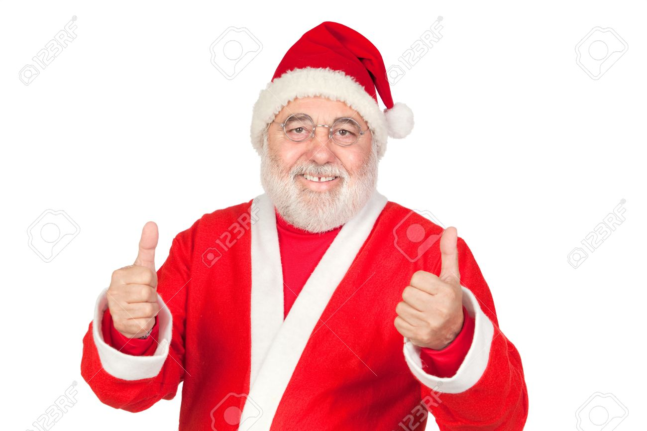 Funny Santa Claus saying OK with his thumbs isolated on white background Stock Photo - 7787665