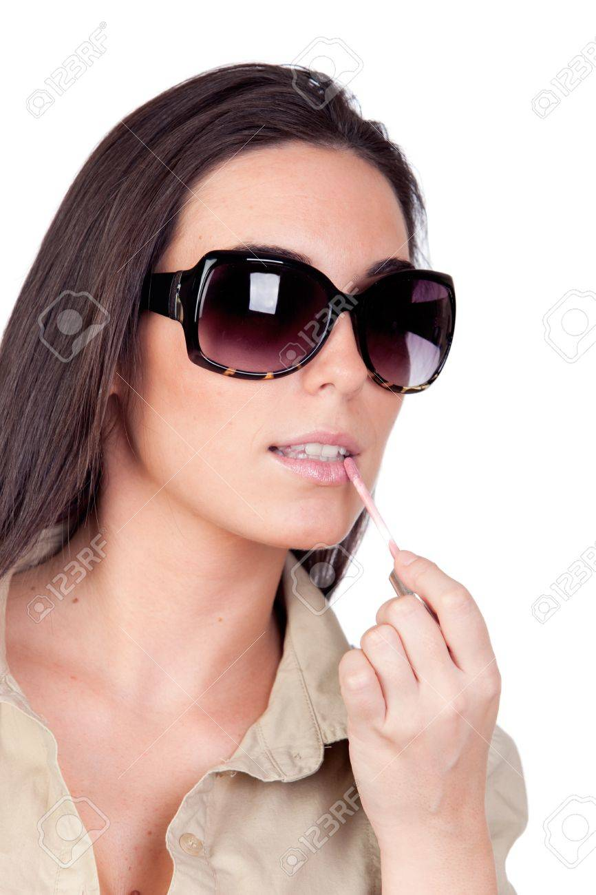 c7269e27e Sexy girl with sunglasses makeup isolated on a over white background Stock  Photo - 8158660