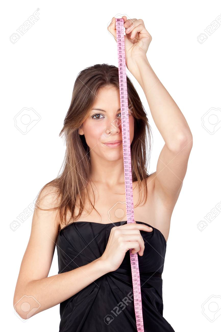 Attractive model girl with a tape-measure isolated on white background Stock Photo - 9317989