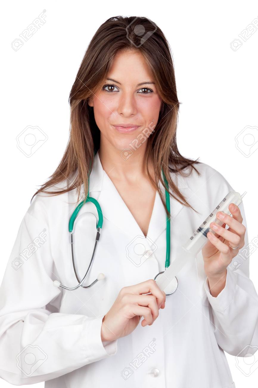 Attractive doctor with a syringe isolated on a over white background Stock Photo - 9505427