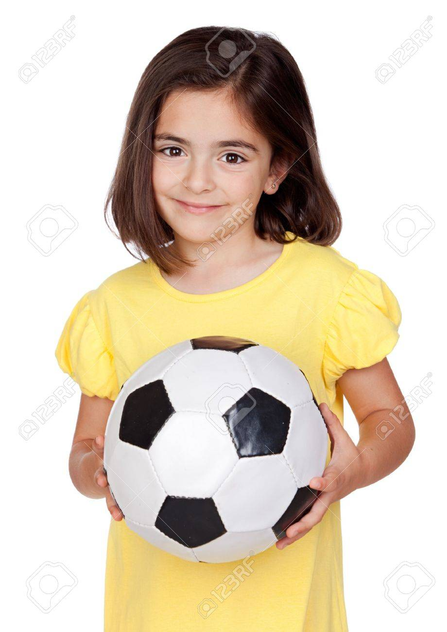 Brunette little girl with a soccer ball isolated on a over white background Stock Photo - 9694947
