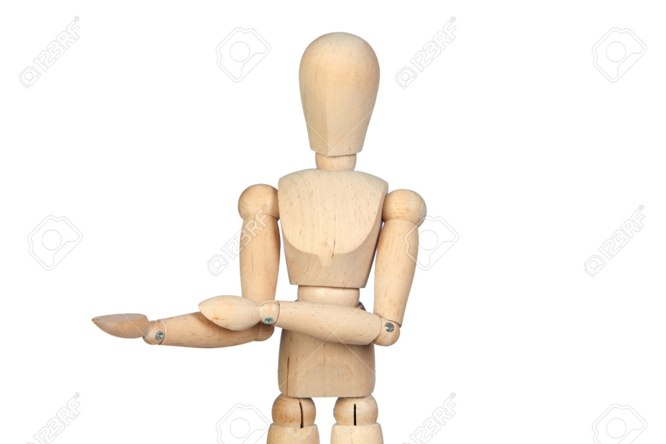 jointed wooden mannequin with outstretched hand isolated on white