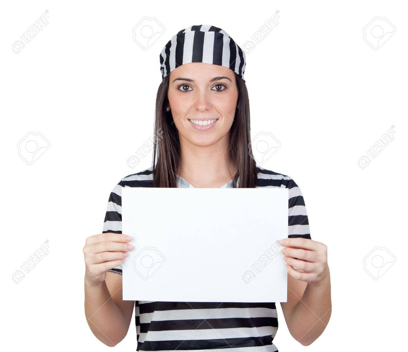 Beautiful prisoner with blank paper isolated on a over white background Stock Photo - 9789318