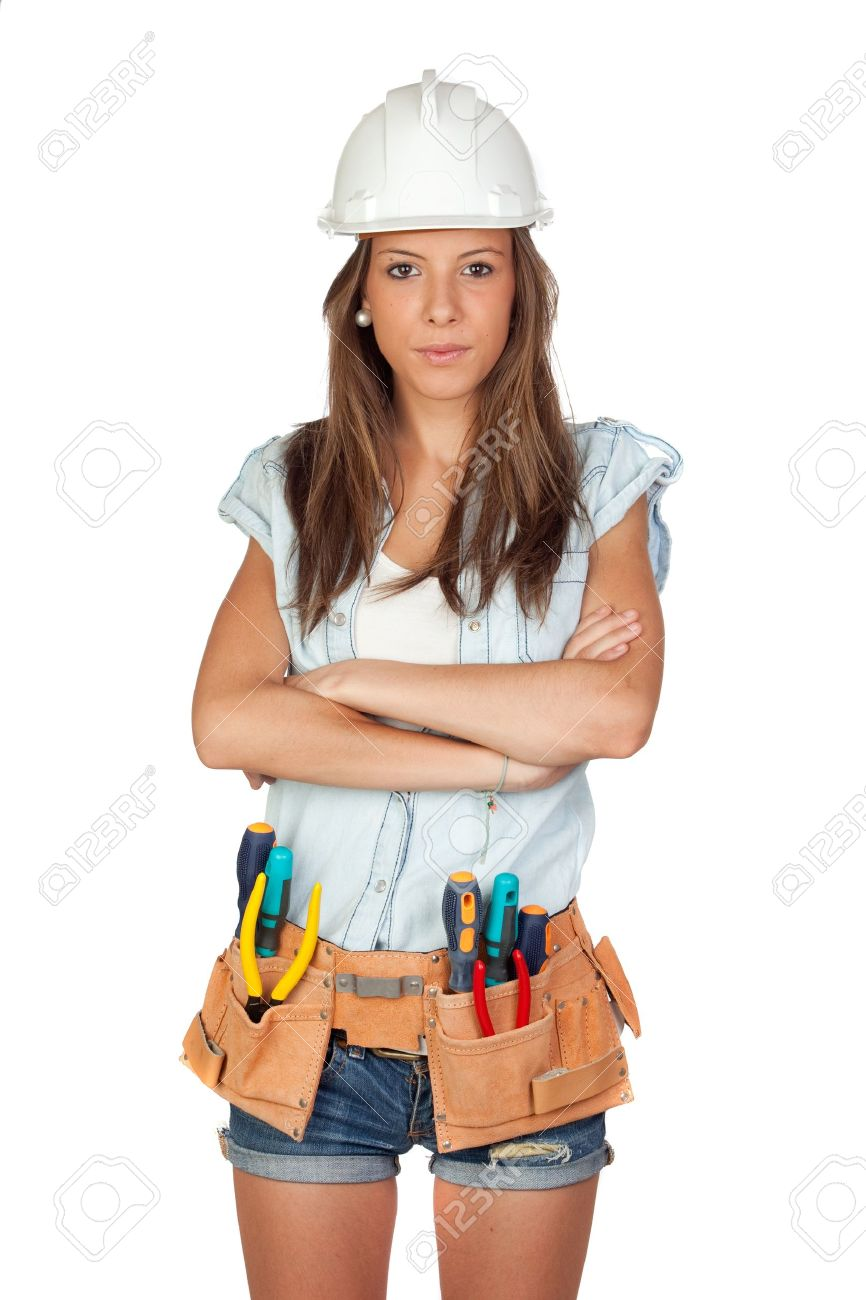 Sexy girl with construction tools on a white background Stock Photo - 9929149