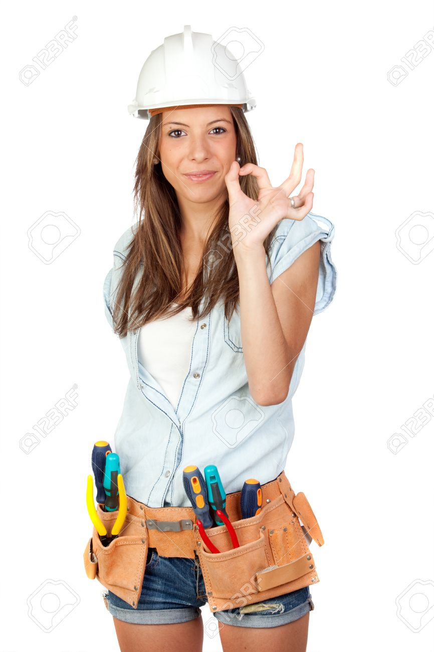 Sexy girl with construction tools on a white background Stock Photo - 9929153