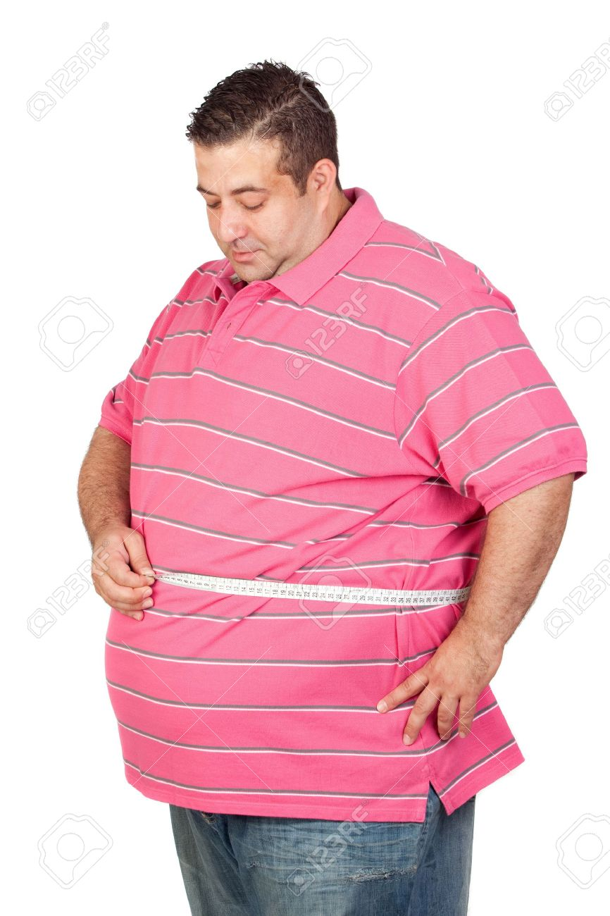 Fat man with a tape measure isolated on white background - 10564534