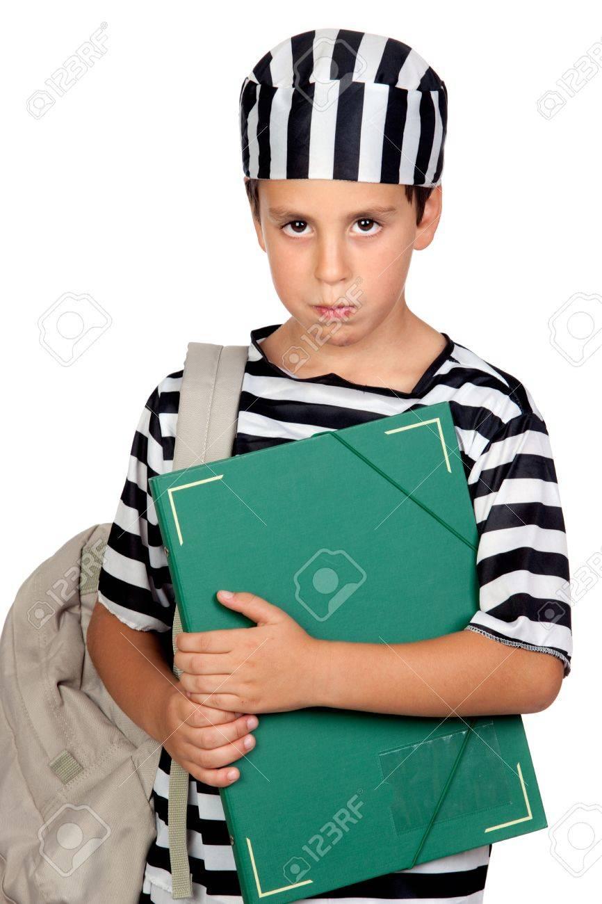 Student boy with prisoner costume isolated on white background Stock Photo - 10768077