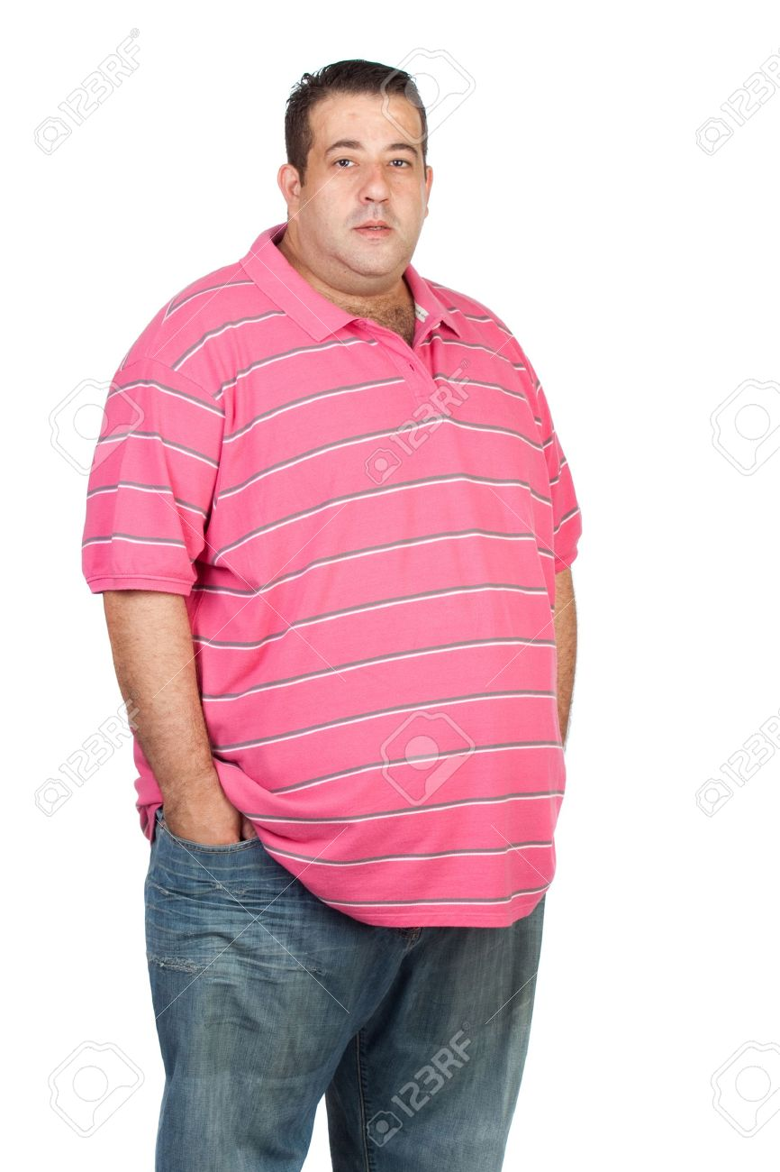 Fat Man With Pink Shirt Isolated On White Background Stock Photo ...