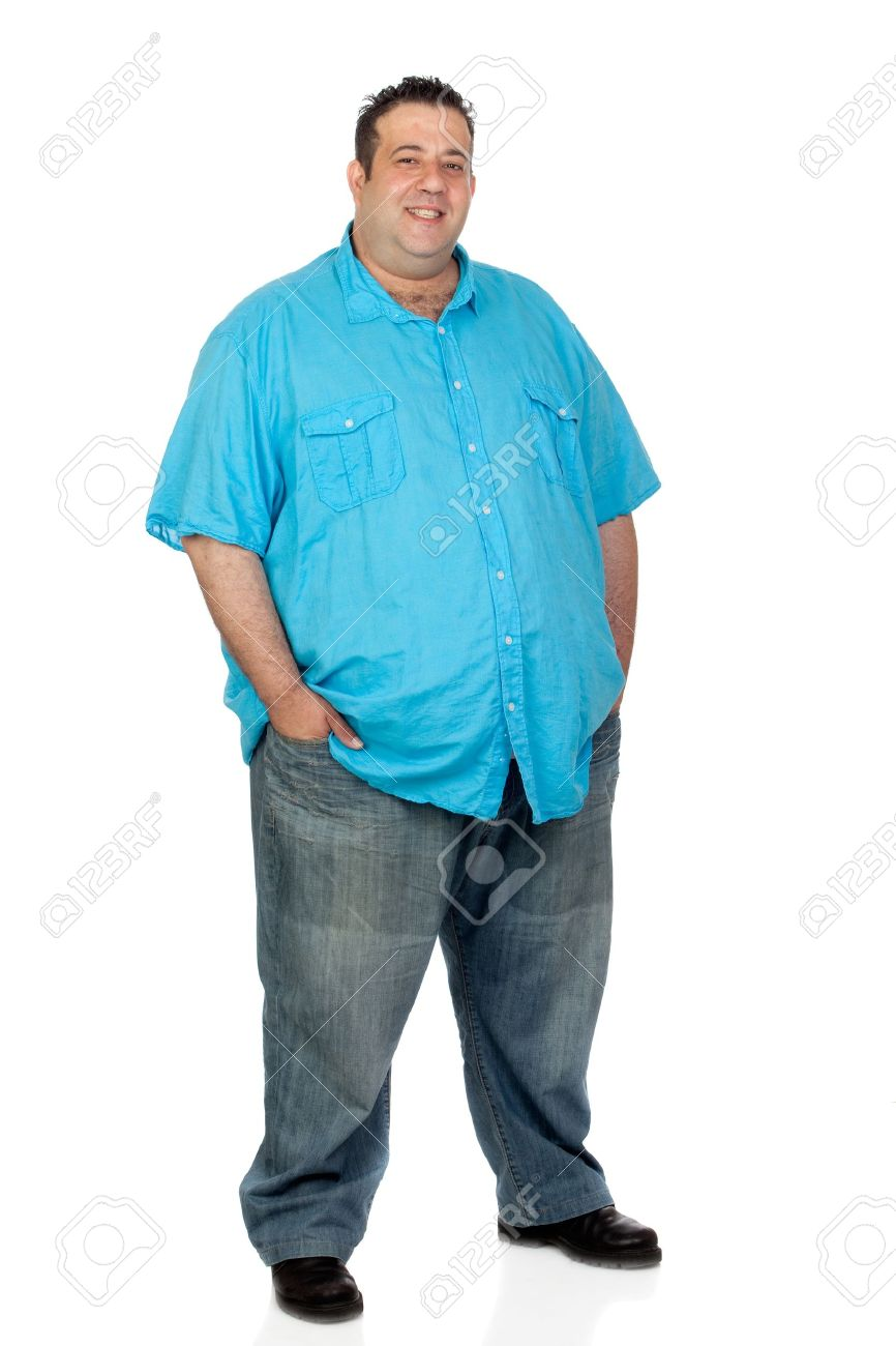 Happy fat man with blue shirt isolated on white background Stock Photo - 14087355
