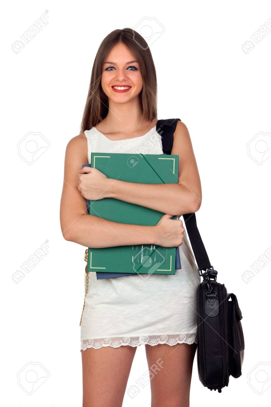 Attractive student girl with blue eyes isolated on white background Stock Photo - 15921726