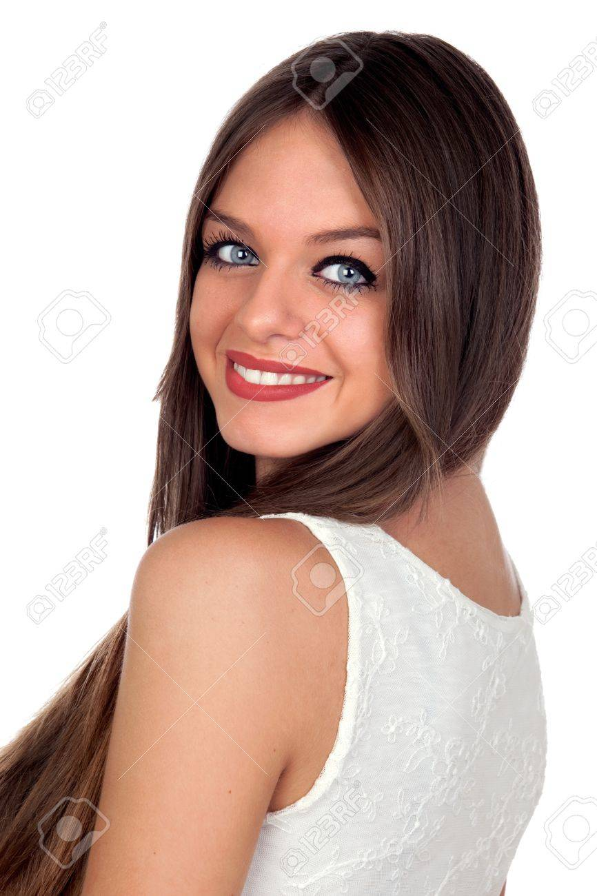 Attractive woman with blue eyes isolated on white background Stock Photo - 15921756