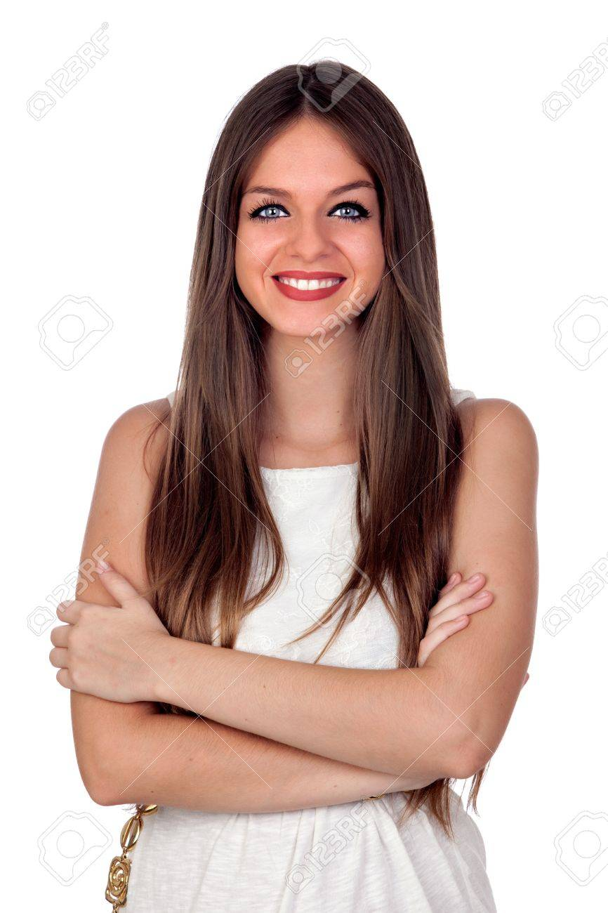 Attractive woman with blue eyes and crossed arms isolated on white background Stock Photo - 15921742