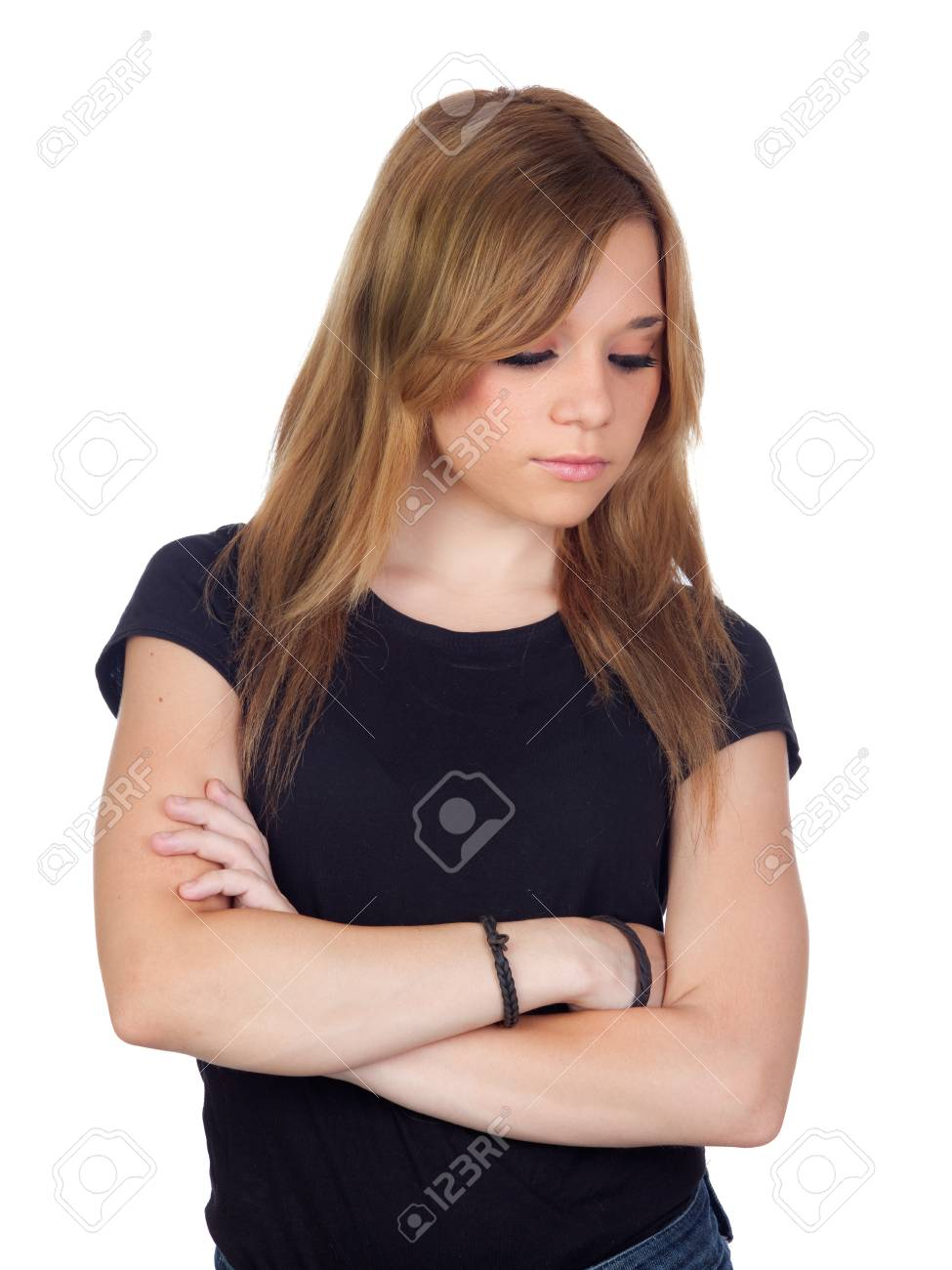 Attractive blond woman with black shirt saddened isolated on white background Stock Photo - 15968907